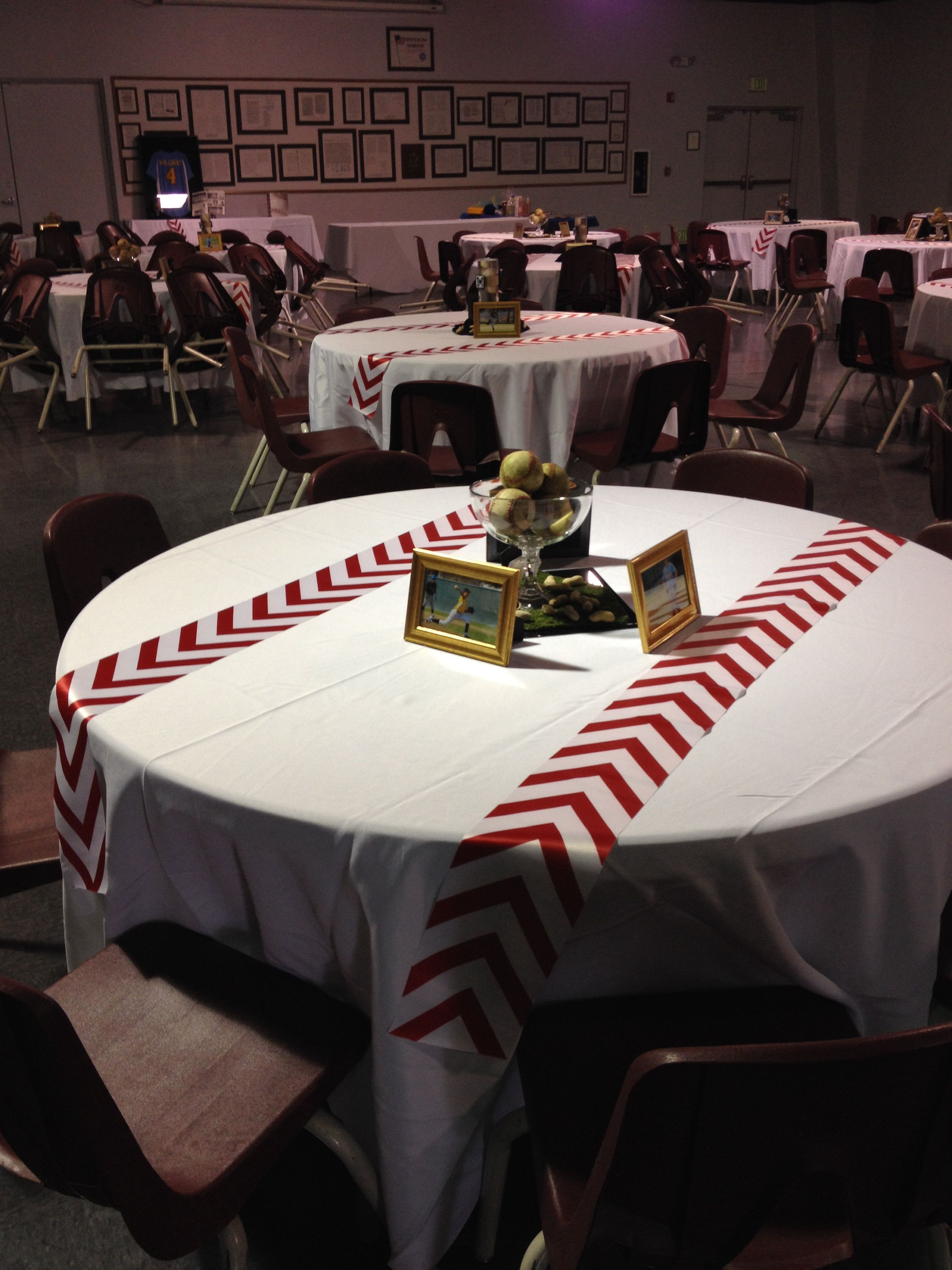 Baseball event or birthday party with a baseball table and