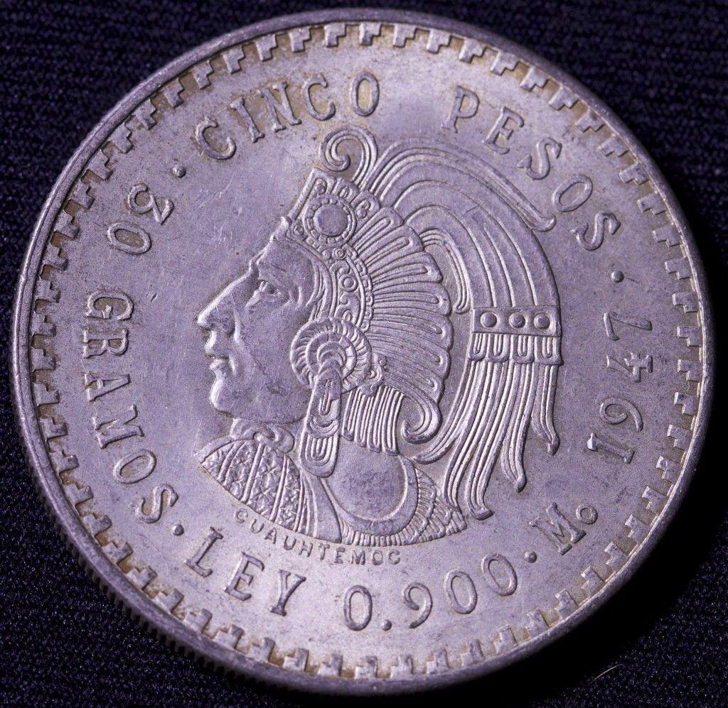 1947 mexican cinco pesos coin