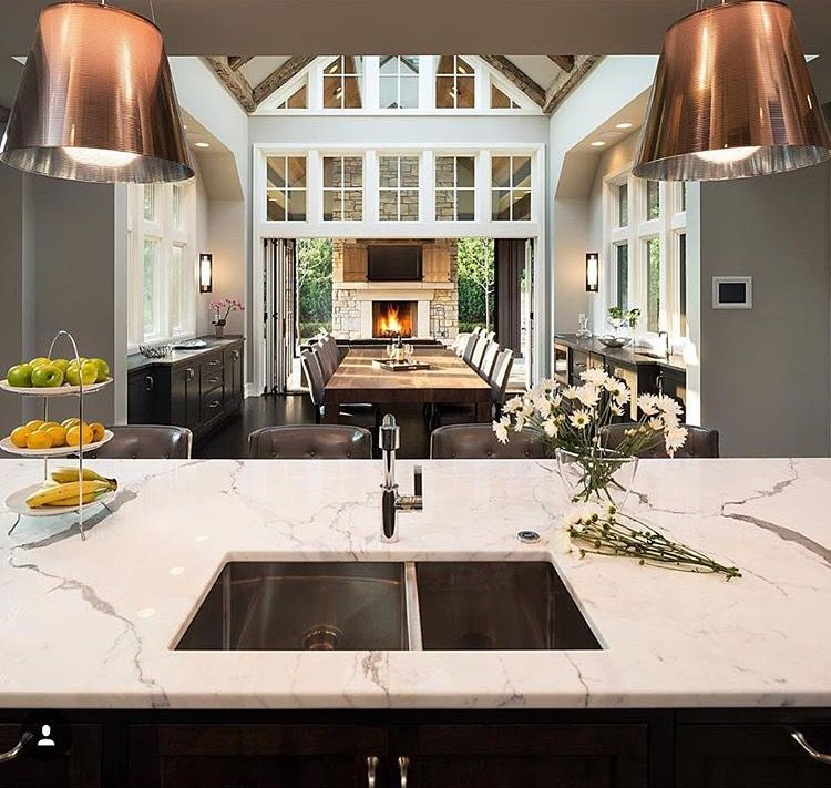 Island And Dining Table Perpendicular May Be A Better Orientation Than Island And Dining Table Both Oriented The Same Sweet Home Outdoor Kitchen Design House