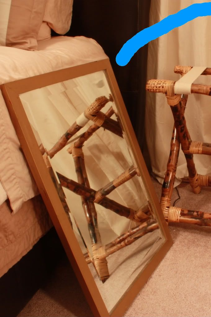 Remember how we replaced the bedroom side tables? Since I subscribe to the 'Waste not, Want not mentality' (aka the I-don't-got-no-money lifestyle), I couldn't replace the bedside tables without turning the old ones into something uber-fabulous. Before the mirror+luggage rack were just a...