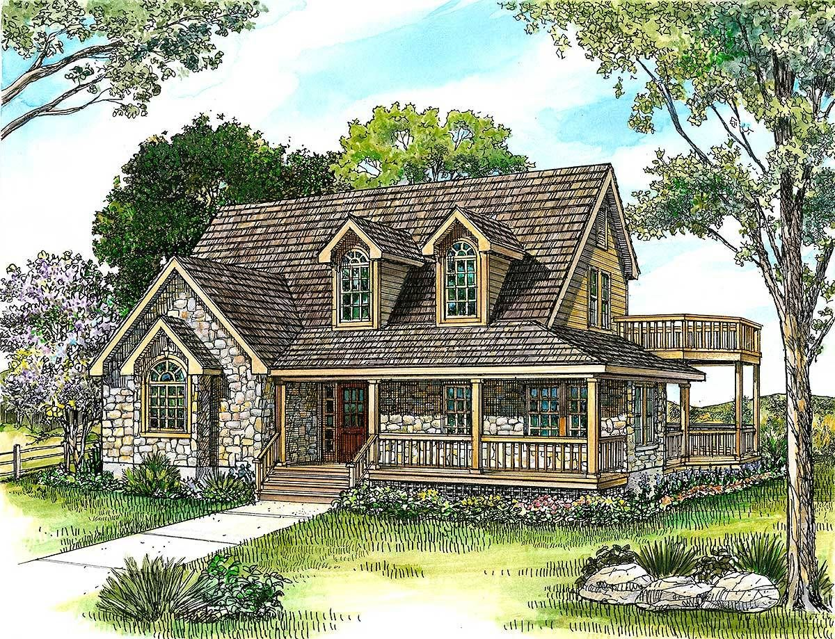 Country Stone Cottage Home Plan - 46036HC | 1st Floor Master Suite ...