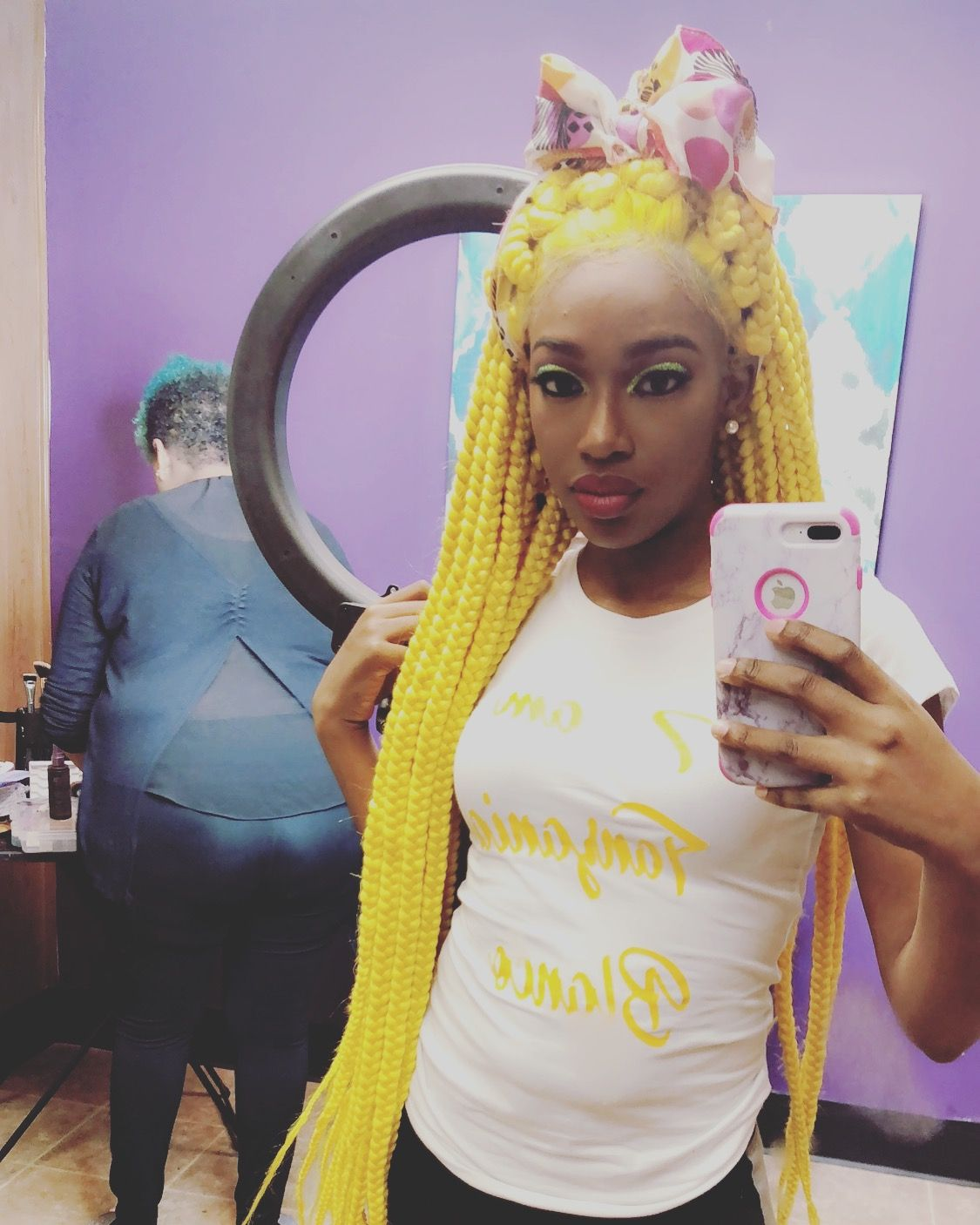 Braided wig #yellow #360frontal #long | Wigs