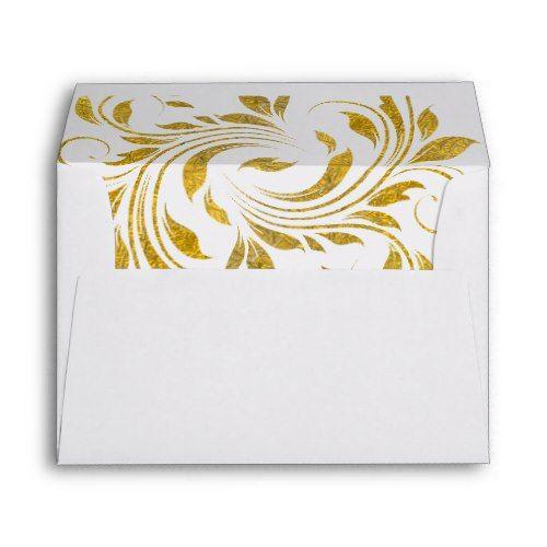 gold foil scroll leaf floral monogram wedding envelope gold foil