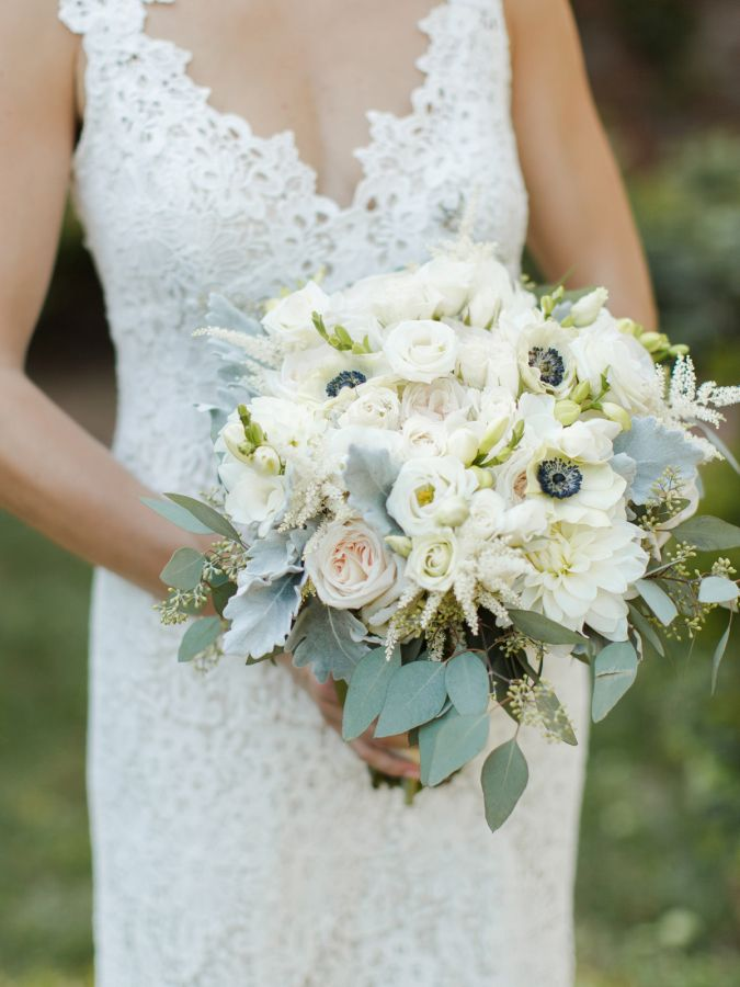 Rustic white anemone filled bouquet: http://www.stylemepretty.com/virginia-weddings/charlottesville/2016/01/21/traditional-meets-rustic-verulam-farm-wedding/ | Photography: Rachel May - http://rachel-may.com/
