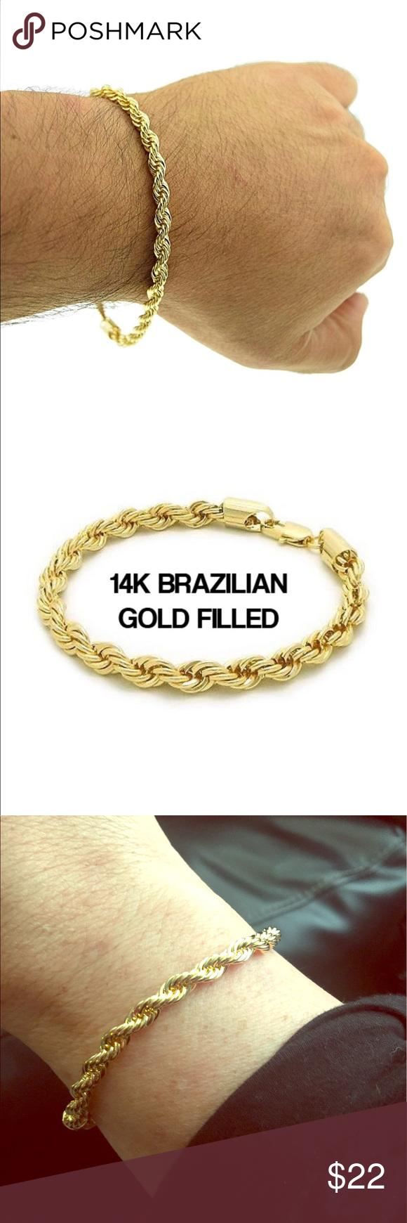 14k Brazilian Gold Filled Twist Rope Bracelet Boutique Bracelets