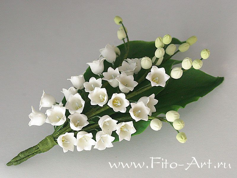 Buttonhole With Flowers Lily Of The Valley From Polymer