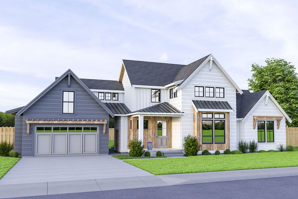 Plan 280057jwd 3 Bed Modern Farmhouse Plan With Breezeway Attached Garage In 2020 Farmhouse Style House Modern Farmhouse Plans Farmhouse Style House Plans