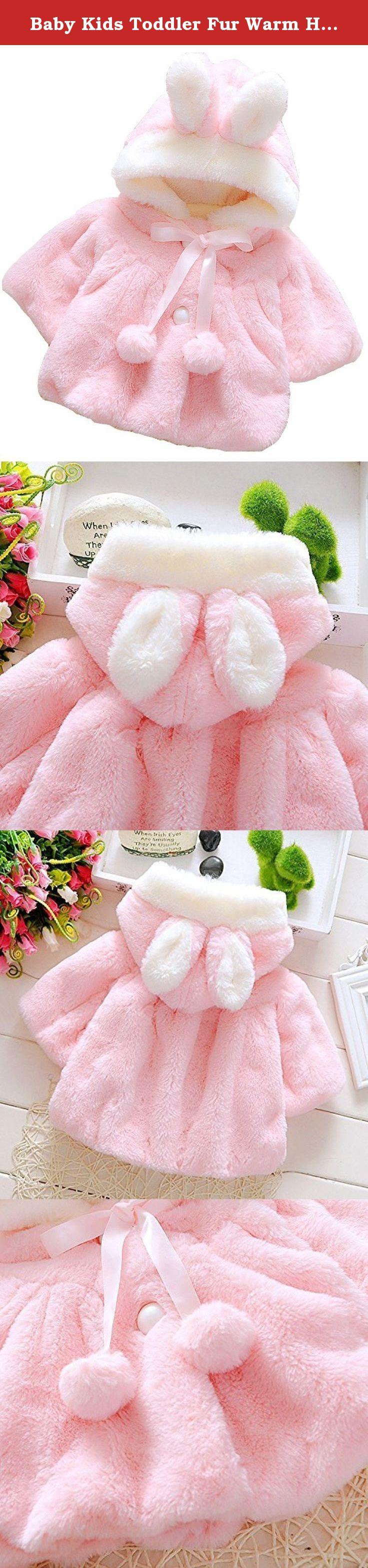92c557705 Baby Kids Toddler Fur Warm Hooded Cape Cloak Poncho Hoodie Coat 12-18Months  Pink.