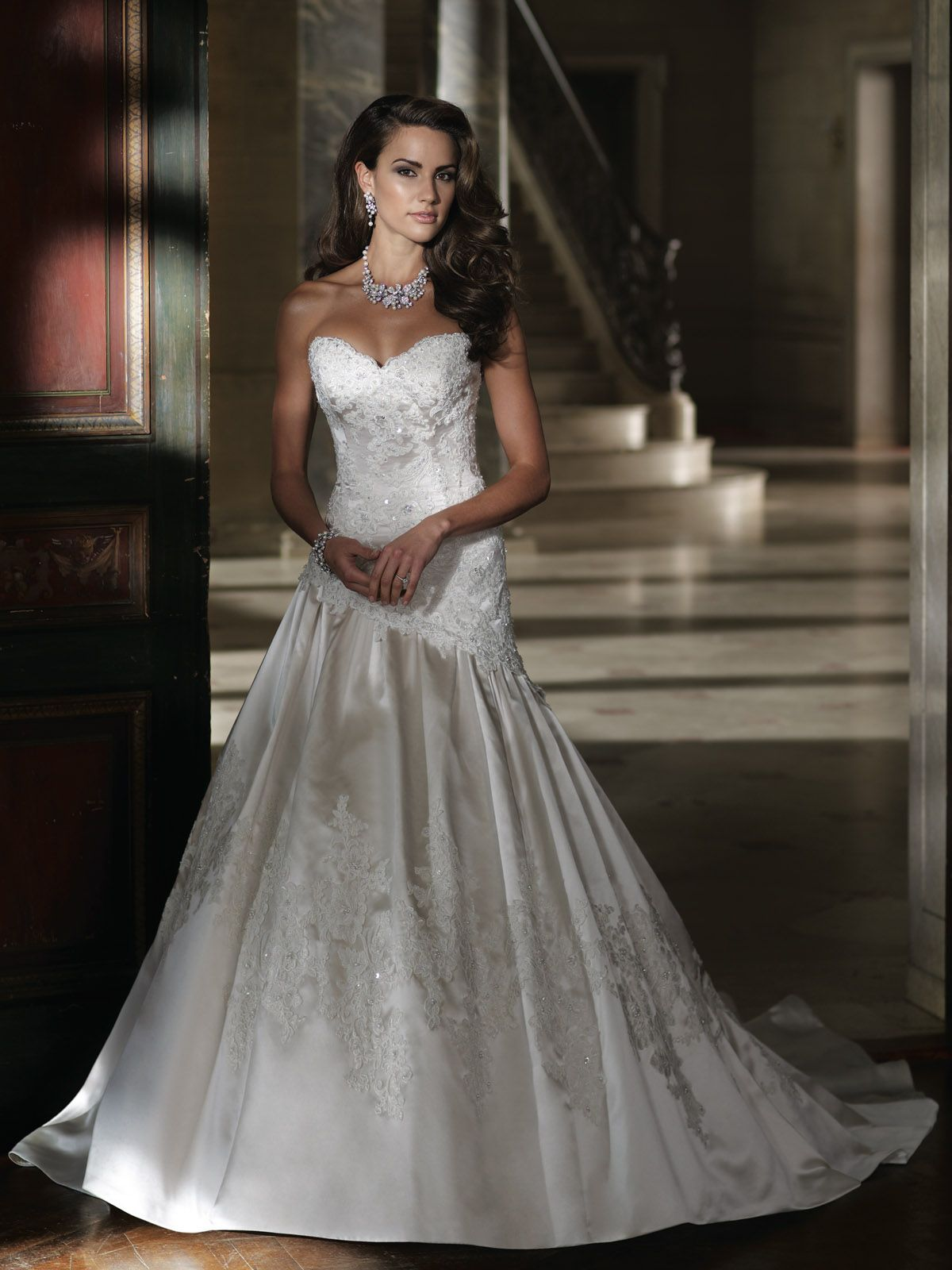 David Tutera Strapless Luxurious Satin And Lace Appliqu Modified A Line Wedding Dress With Sweetheart Neckline