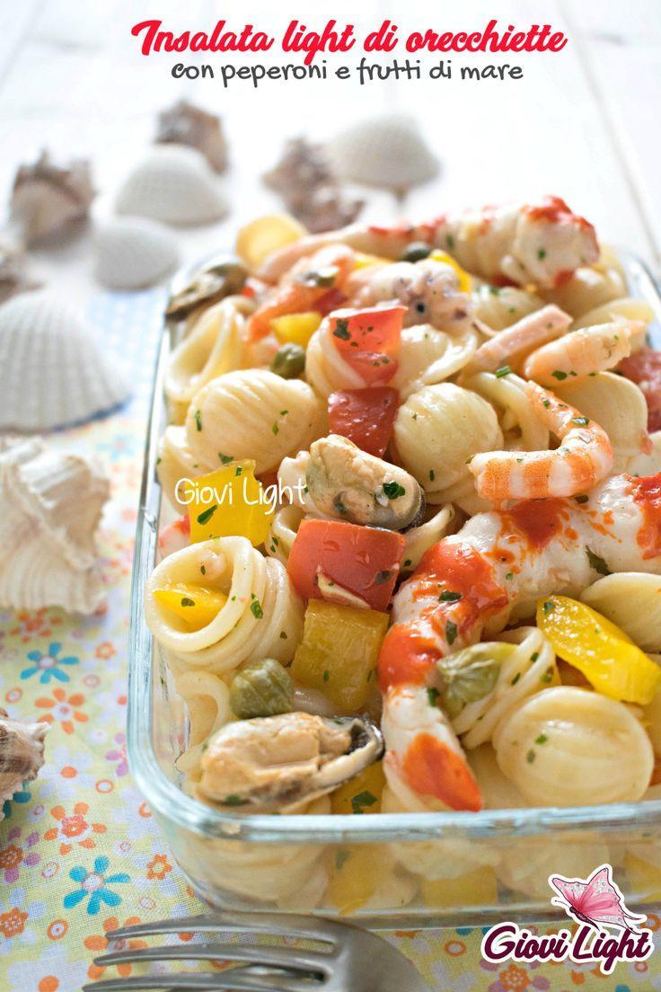 Insalata di orecchiette leggere con peperoni e frutti di mare   - primi piatti freddi -