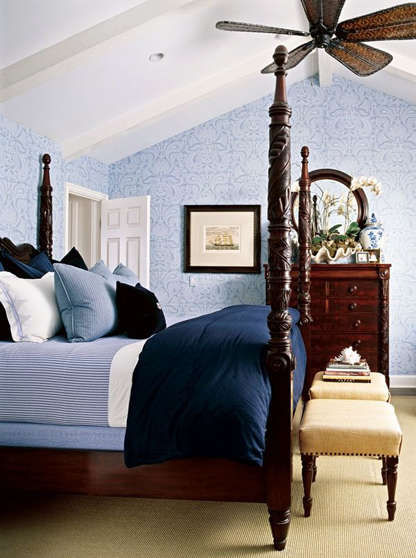 How To Decorate With A White And Blue Combo Blue Master Bedroom Colonial Bedroom Dark Wood Bedroom Furniture