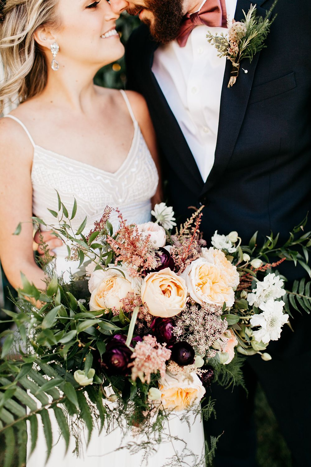 Romantic lush bouquets with garden roses photo by Catie Cole