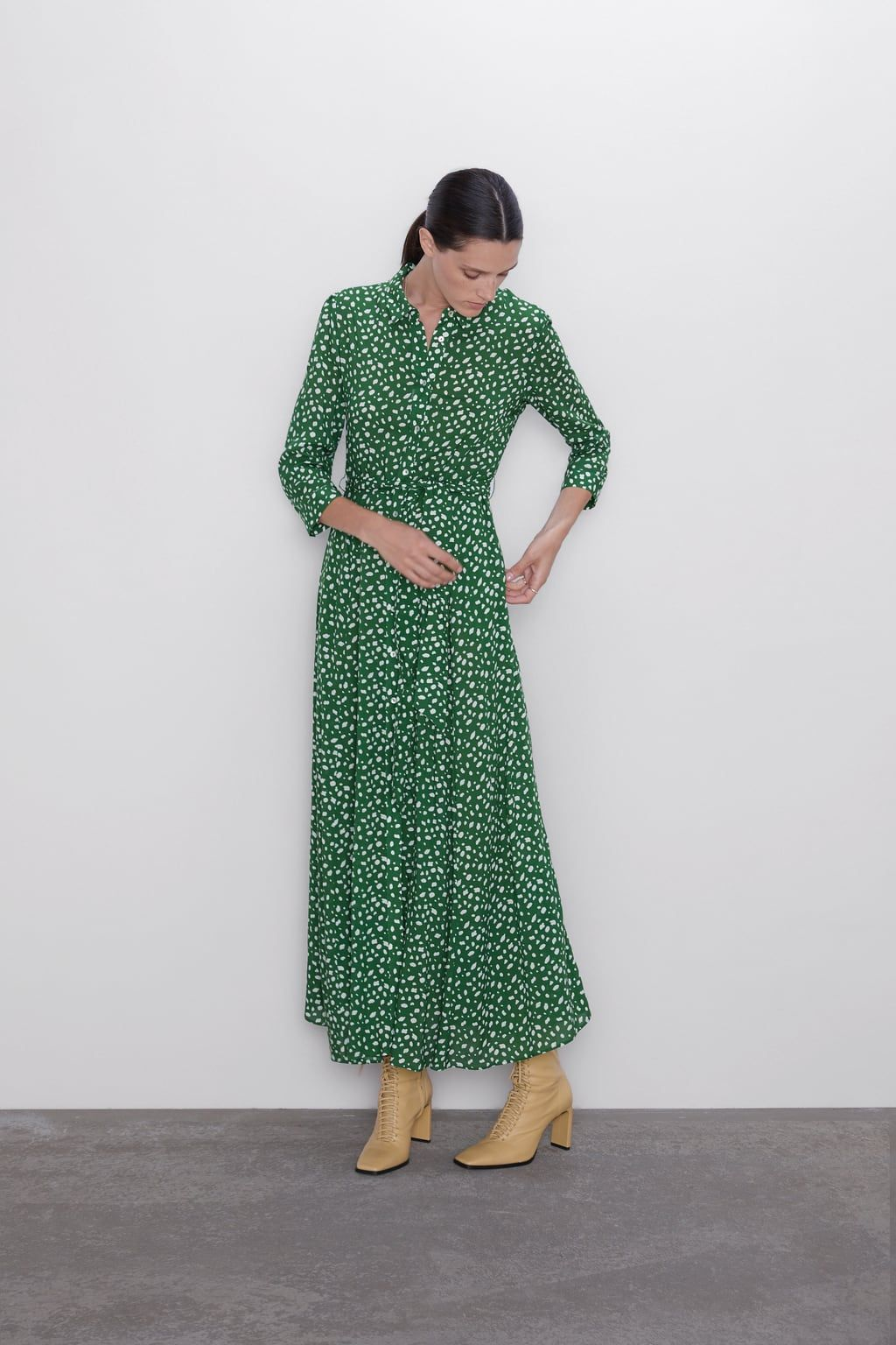 Guipure Pointelle Top With Images Printed Long Dresses Long Green Dress Womens Dresses