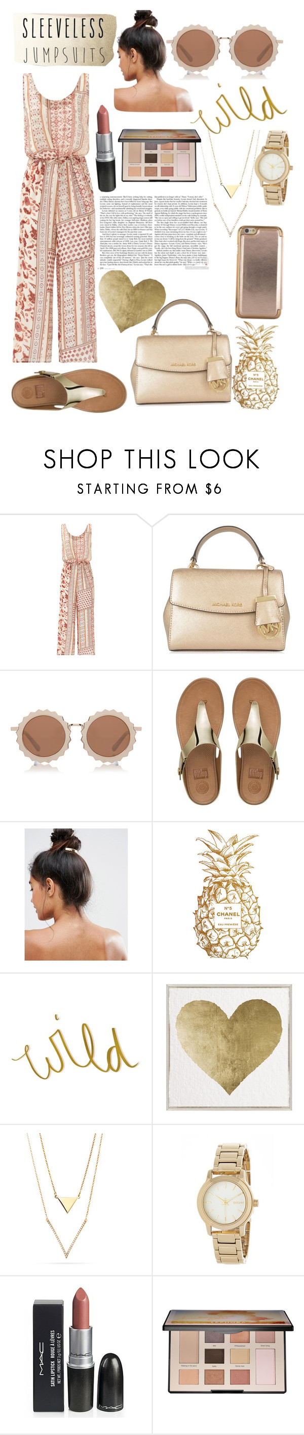 """J U M P S U I T🌞"" by beautifullyrandom ❤ liked on Polyvore featuring Bailey 44, MICHAEL Michael Kors, House of Holland, FitFlop, Kitsch, Chanel, Oliver Gal Artist Co., DKNY, Sephora Collection and Ted Baker"