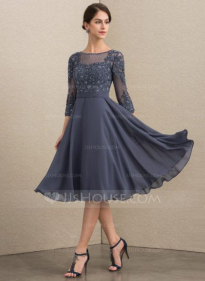 Photo of [€ 143.00] A-Line Scoop Knee-Length Chiffon Lace Dress …