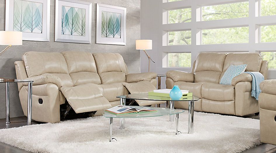 Vercelli Stone Leather 3 Pc Living Room From Furniture Living Room Leather Brown Couch Living Room Living Room White
