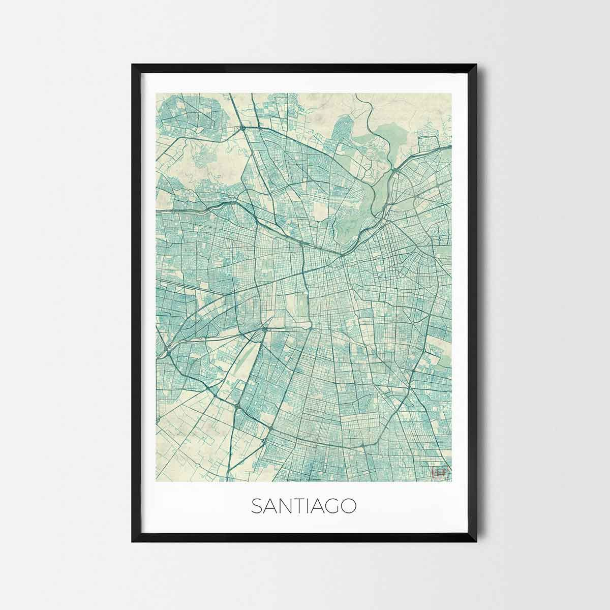 Santiago art posters city art map posters and prints santiago santiago art posters city art map posters and prints gumiabroncs Choice Image