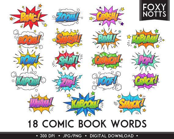 Superhero Comic Book Words Clip Art Text Bubbles Digital Comic Book Superheroes Book Works Text Art