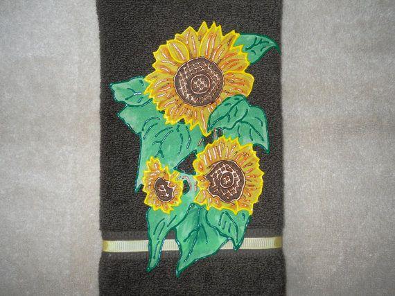 Sunflower kitchen hand towel sunflower bathroom hand towel