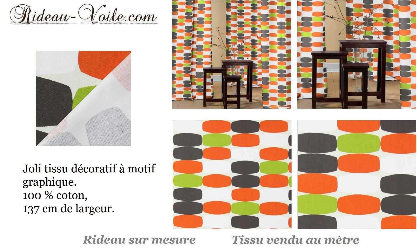 rideau motif color orange gris d co pinterest drapes curtains. Black Bedroom Furniture Sets. Home Design Ideas