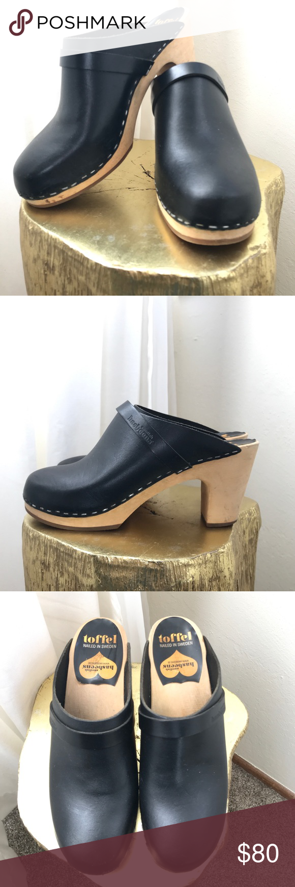 562a5a6f94c Swedish Hasbeens Slip In High Clog 38 Black leather high heeled slip on  clogs with natural wood base. Size is marked 38. I think these would work  best for a ...