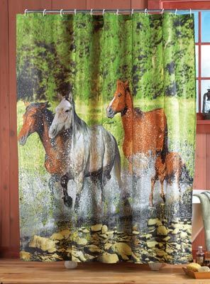 Wild Horses Shower Curtain Western Home Decorating Bathroom Shower Curtains Western Bathrooms Shower Curtain