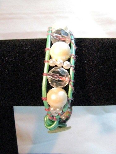 Pale Green  Leather Wrapped Bracelet With Acrylic Pearls And Crystals   Wyverndesigns - Jewelry on ArtFire