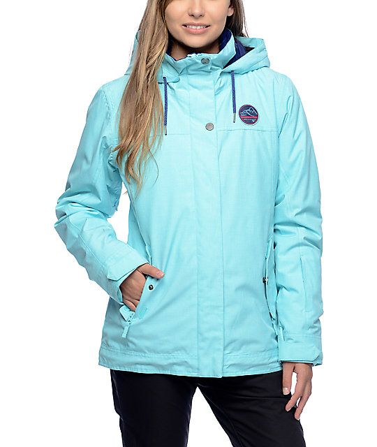 0c97e38080f6 Escape to the mountains this winter in the Billie Blue Radiance 10K  snowboard jacket for women by Roxy. The textured polyester dobby fabric in  the blue ...