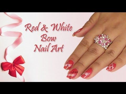 Red white bow nail art design do it yourself khoobsurati red white bow nail art design do it yourself khoobsurati solutioingenieria