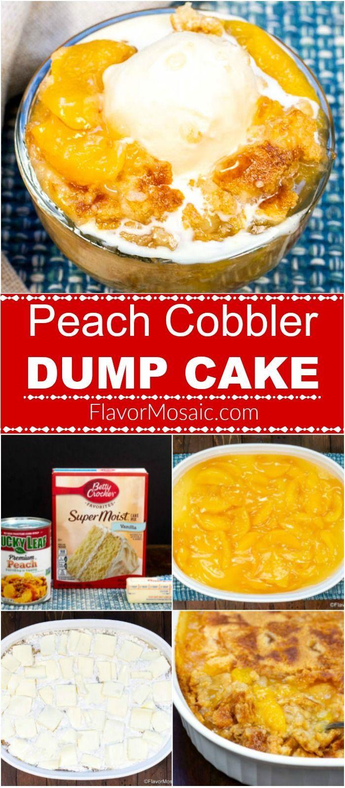 Peach Cobbler Dump Cake - Flavor Mosaic