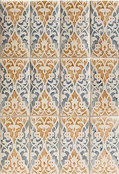Raffaela Decorative Field in Mezzanote, inspired by antique Italian fabrics.