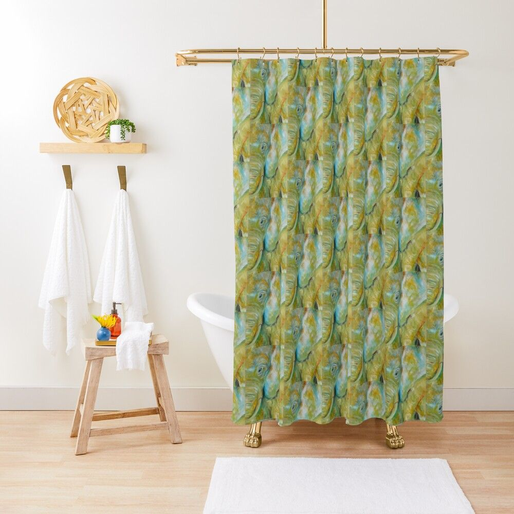 Yellow Bathroomideas: ' Yellow Elephant Acrylic Painting' Shower Curtain By