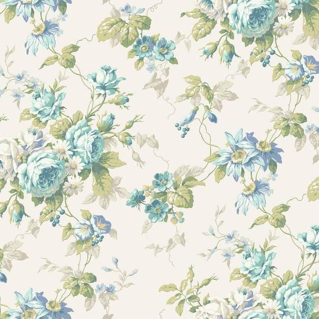 Wallpaper Cottage Rose Floral Trail Blue Gray Green On