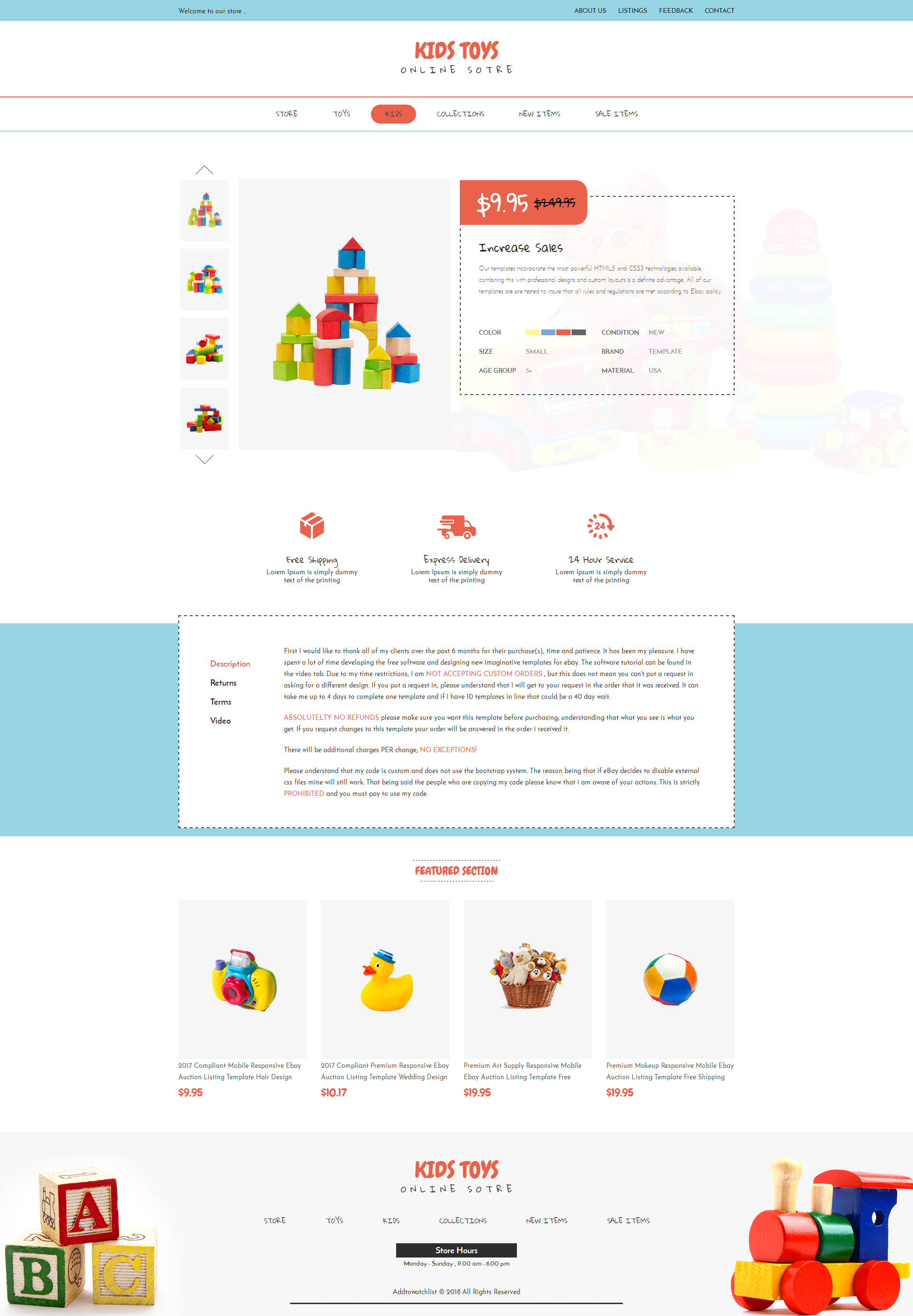 Compliant Premium Responsive Ebay Auction Listing Template Toy - Ebay website template