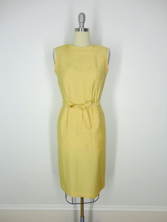 Vintage Day Dress / Gold Silk Linen / Early 1960s