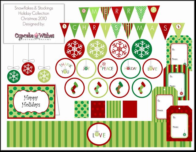Cupcake Wishes & Birthday Dreams: {FREE PRINTABLE} Snowflakes & Stockings Christmas Colletion 2010