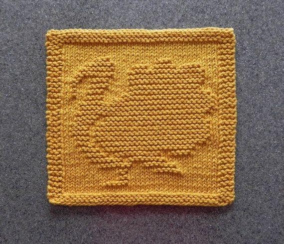 Turkey Knit Dishcloth Hand Knitted Unique Design Gold 100