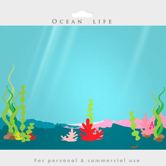 Under the ocean - sea clip art, fish, seaweed, dolphin, whale ...