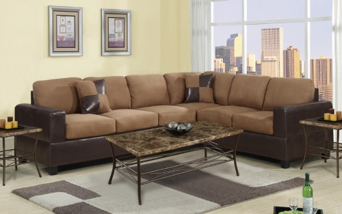 2 Piece Modern Large Microfiber And Faux Leather Sectional Sofa Brown