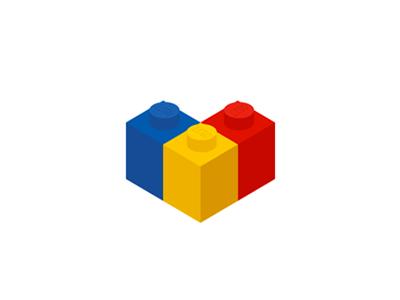 Lego Bricks Flag Heart Shape Logo Design Symbol Logo Design Identity Design Logo Lego Brick