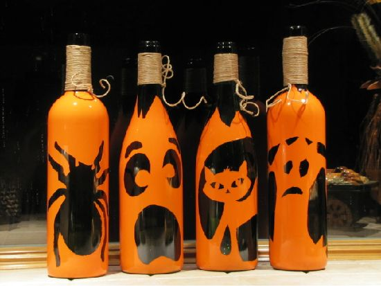pumpkin wine bottles halloween deko botellas de vino. Black Bedroom Furniture Sets. Home Design Ideas