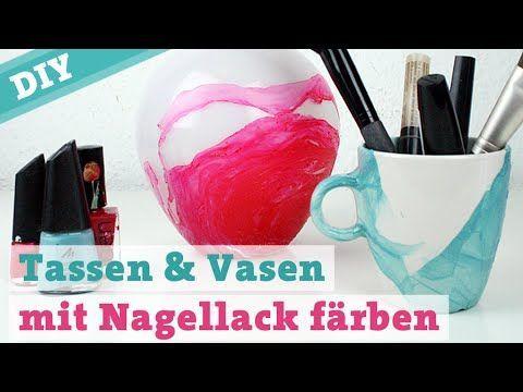 Färben DIY Tassen & Vasen mit Nagellack - Malen auf Porzellan Aquarelle Aquarelleffekt, #amp #Aquarelle #Aquarelleffekt #auf #DIY #Farben #malen #mit #Nagellack #Porzellan #Tassen #Vasen