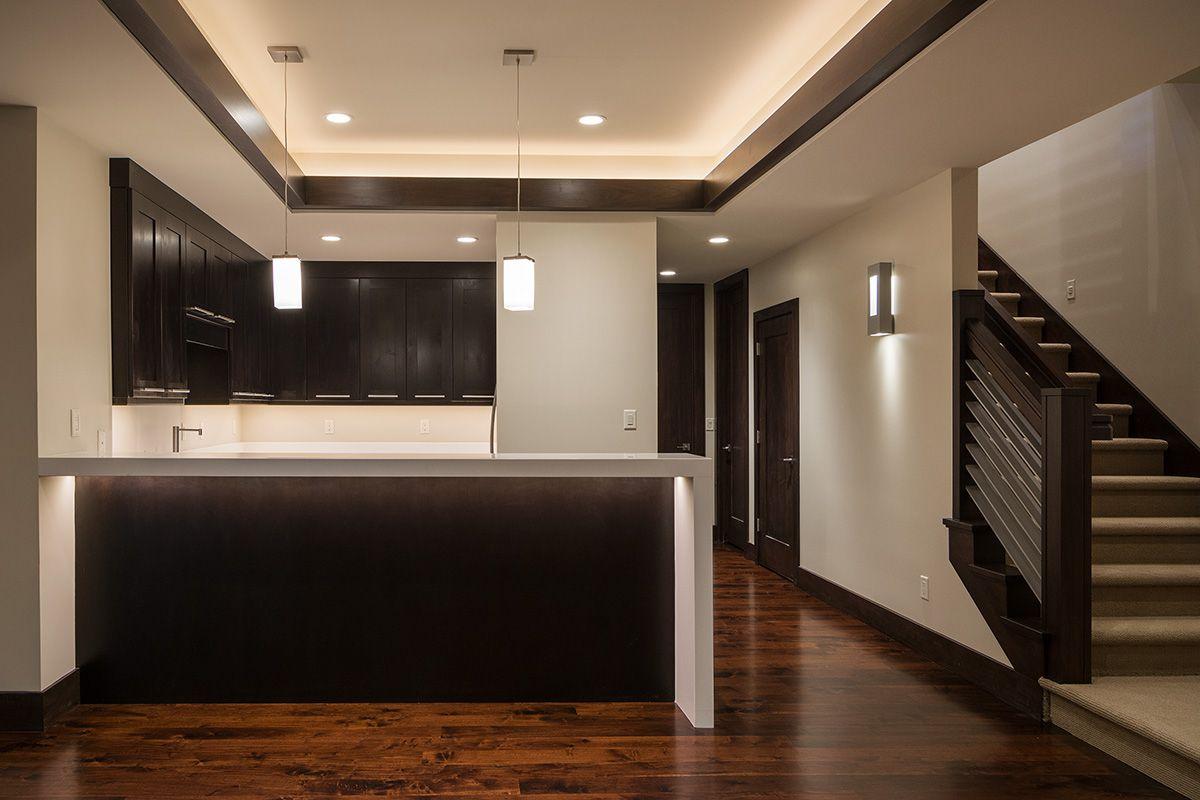 Sleek, modern basement kitchen in Draper, Utah. Home built by Cameo ...