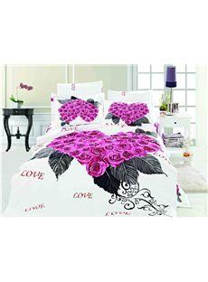 New Arrival Purple Roses Heart Shaped 4 Piece Bedding Sets Duvet Cover Sets Bedding Sets Elegant Bedding Sets Duvet Cover Sets