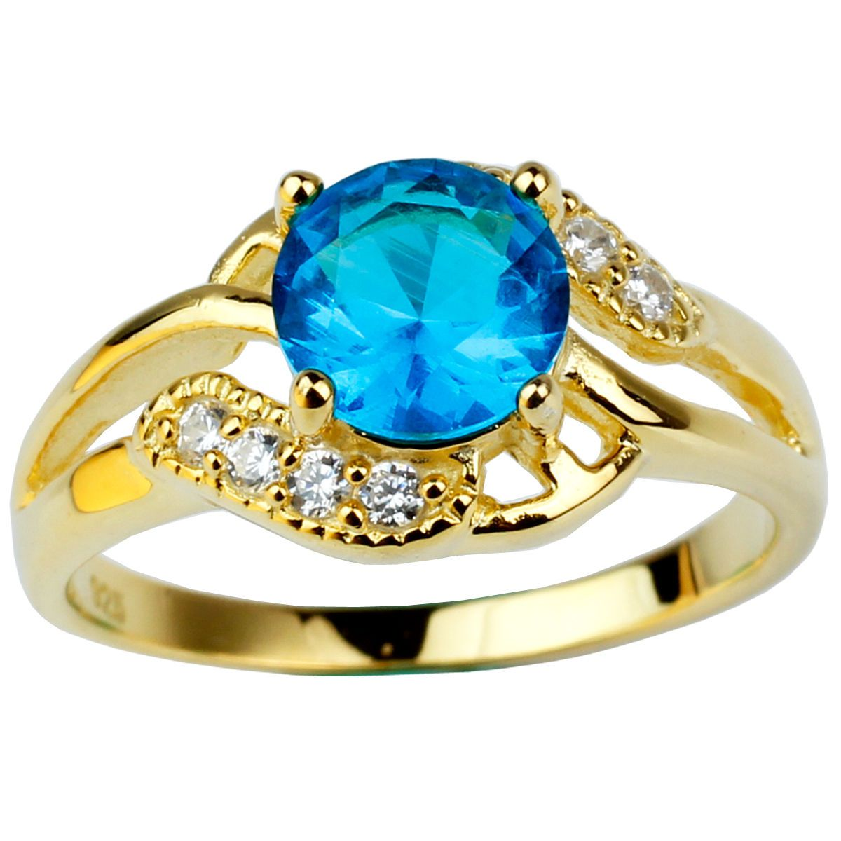 Gold Plated 925 Sterling Silver Ring for Ladies Sea Blue Stone ...