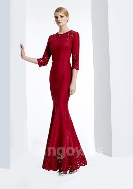 776023705b Jewel Mermaid Floor Length Red Navy Satin Ruched Zipper 3 4 Sleeves  Homecoming   Prom Dresses