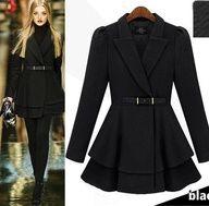 Morpheus Boutique  - Black Trendy Long Sleeve Wool Celebrity Belted Pleated Coat