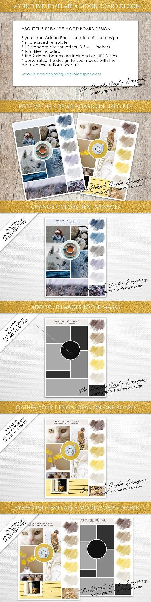 Psd Mood Vision Board Template 5 Mood Board Pinterest