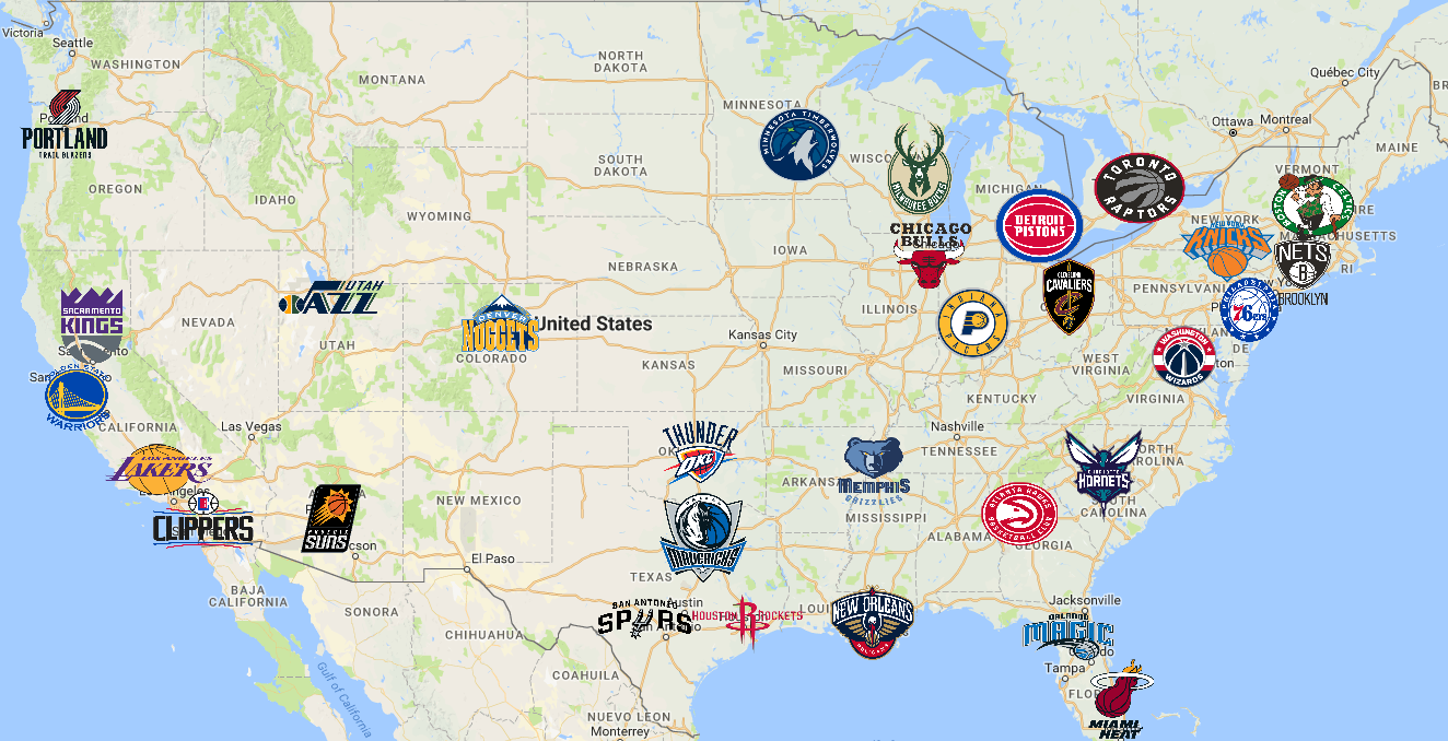 Map of National Basketball Association (NBA) Teams | Basketball ...