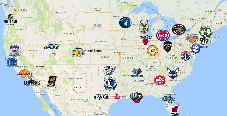 Map Of National Basketball Association Nba Teams Nba Basketball Teams Nba Map